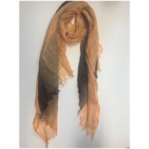 Orange & Brown ombré frayed edge lite wt scarf